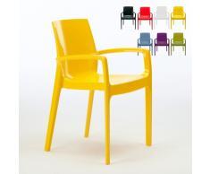 Chaise polypropylène empilable avec accoudoirs cuisine maison CREAM...