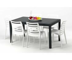 Table rectangulaire et 6 chaises colorées Poly rotin resine 150x90 ...