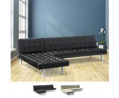 Canapé-lit à angle avec péninsule 3 places en faux cuir avec accoud...