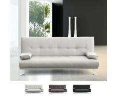 Canapé lit double 2 Places en faux cuir avec accoudoirs Olivina po...