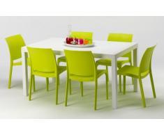 Table rectangulaire et 6 chaises colorées Poly rotin resiné 150x90 ...