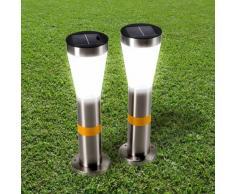 Réverbères solaires LED lampe jardin extérieure longue durée 2 pcs