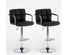 2 tabourets noir confortable péninsule idéal repose-pieds réglable ...