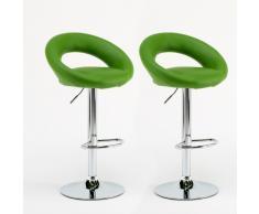 2 Tabourets de Bar et Cuisine Vert Artificielle Couple