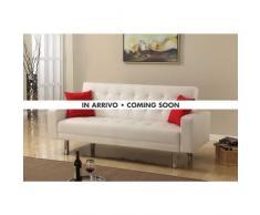 canapé-lit double 2 places en simili cuir avec accoudoirs et oreil...