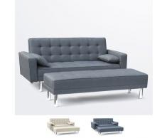 Canapé-lit 2 places avec repose-pieds et accoudoirs coussins AGATA...