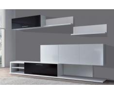 Bricohabitat Kendra Composition Salon Blanc/noir Brillant 260X84X43 Cm