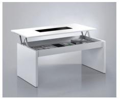 Bricohabitat Table Basse Avec Dessus Reversible En Verre 2014 Blanc Brillant 102X43X50 Cm