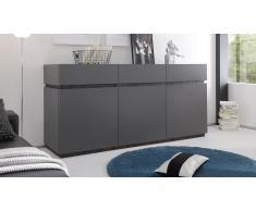 Bahut 3 portes 3 tiroirs design laqué gris mat - Galatik