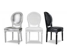 Chaise médaillon en bois revêtement croco - Sebou
