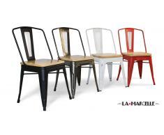 Lot de 4 chaises tôle design industriel assise bois - La Marcelle -