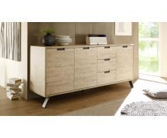 Bahut design 3 portes 3 tiroirs avec pieds métal - Nekho