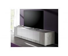 Meuble TV bois laqué blanc 4 portes Mars