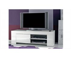 Meuble TV design laqué blanc 140 cm Magao