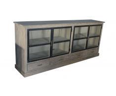 Bahut Chartier 4 portes vitrées 4 tiroirs en bois et métal