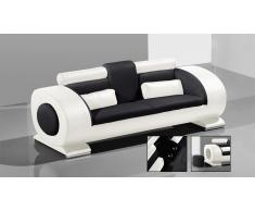 Canapé cuir 3 places design - Capsule - avec poufs intégrés