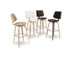 Tabouret de bar design avec pieds bois, assise 77cm - Hambourg