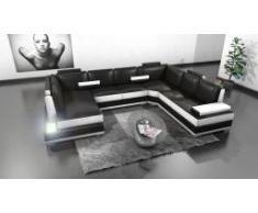 Canapé d'angle panoramique en cuir - Lowing - avec luminaire