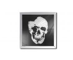 Tableau miroir carré avec tête de mort - Aratika