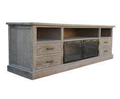 Meuble TV - Chartier - 4 tiroirs bois et 2 portes vitrées Solde