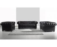 Salon Chesterfield cuir - Vivaldi - canapé 3 pl. + 2 places + fauteuil