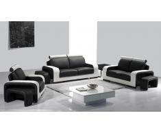 Salon tout cuir moderne - Zola - Canapé 3 places + 2 places + fauteuil