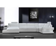 Canape angle en cuir design - Kubo - avec luminaire Solde