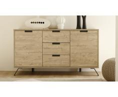 Bahut design 2 portes 3 tiroirs, pieds métal - Nekho