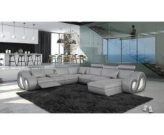 Canapé design d'angle panoramique en cuir avec éclairage - Nesta