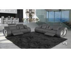 Salon design relax cuir lumineux -Nesta- canapé 3 pl + 2 pl + fauteuil Solde