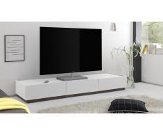 Meuble TV laqué blanc mat, 3 tiroirs Galatik