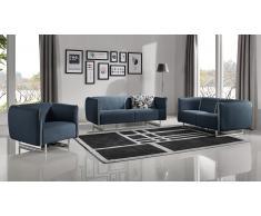 Salon tissu bicolore canapé 3 places + 2 pl + fauteuil - Kitee