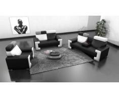 Salon design cuir Yoocub - canapé 3 places + 2 places + fauteuil