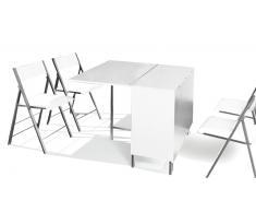 Table à diner carrée modulable avec ses 4 chaises - Hub