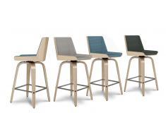 Tabouret de cuisine design pieds bois, assise 65 cm - Ackky