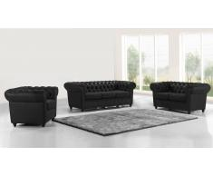 Salon chesterfield en cuir 3+2+1 - Liverpool