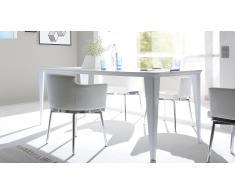 Table de salle à manger laquée blanc mat 180cm - Galatik