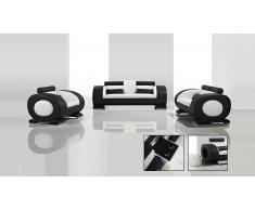 Salon design cuir - Capsule - canapé 3 places + 2 pl. + fauteuil