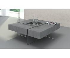 Table basse carrée effet béton et pieds en verre - Crystalline