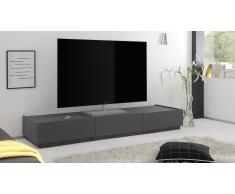Meuble TV laqué Mat gris, 3 tiroirs Galatik