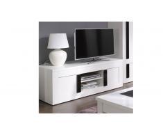 Meuble TV design blanc et noir - Arendy Solde