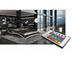 Lit design en cuir - Squary - lit avec éclairage Led