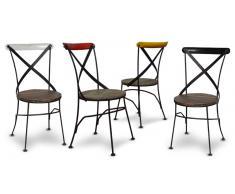 Chaise industrielle bistrot métal et bois, colorée, Cardiff