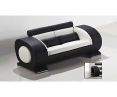 Canapé cuir 2 places design Capsule avec poufs intégrés aux accoudoirs