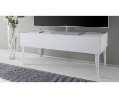 Meuble TV laqué blanc mat, 2 tiroirs - Galatik