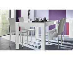 Table de salle à manger laqué blanc rectangulaire 160 cm Magao