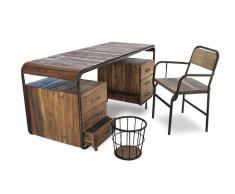 Bureau vintage de style industriel en bois et métal - Brighton