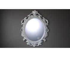 Miroir ovale style baroque argenté - Calinka