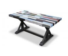 Table de salle à manger rectangulaire en bois multicolore - Brasilia Solde