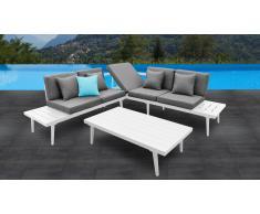 Canapé d'angle relax de jardin + table basse aluminium blanc - Piaxa